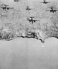 Pre-invasion Bombing of Pointe du Hoc by US Ninth Air Force A-20 light bombers, spring 1944. (US Army Center of Military History)