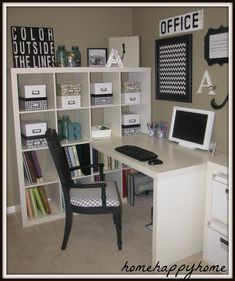 Ikea office. Replace computer with sewing machine and put fabric in cubes and Voila...craft room.