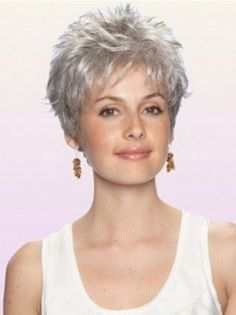 You'll look refined and elegant in a grey wig, so shop now to find Durable Wavy Cropped Synthetic Grey Wigs in the shades and styles you've been searching for! Afro Wigs, Curly Wigs, Human Hair Wigs, Blue Wig, Grey Wig, Gray Hair, Short Hairstyles For Women, Easy Hairstyles, Curly Haircuts