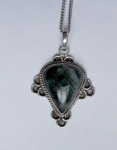 vintage large sterling silver and quartz pendant with 16 inch chain good condition unusual piece
