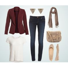 """The Burgundy Blazer"" by kellinasthoughts on Polyvore"