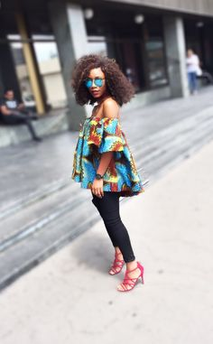 #pinterest african print and black pant. Big afro hair season. Chic african wear #spring #summer #chokers #africanprint with red heels