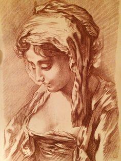 Galerie Nord: Buste de Femme, gravé par Schmidt d'après François Boucher. Sanguine en manière de crayon, vers 1770.