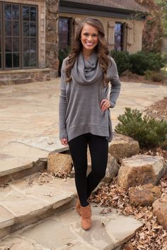 The Pink Lily Boutique - Charcoal Grey Cowl neck Sweater, $42.50 (http://www.thepinklilyboutique.com/charcoal-grey-cowl-neck-sweater/)