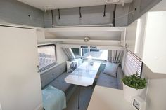 Grey & Blue & White Vintage updated Caravan