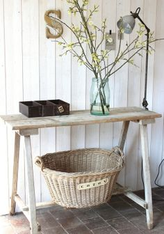 Bleached wood console like this.