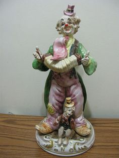Antique Clown Figurines | Clown Playing the Accordeon with Monkey _Capodimonte Porcelain ...