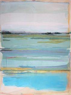 Karin Olah, original fine art paintings with fabric and mixed media   Land & Sea