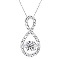 "0.13 Ct Round Cut D/VVS1 10K Gold Over Infinity Pendant With 18"" Chain Necklace by JewelryHub on Opensky"