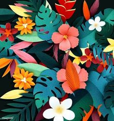 Tropical botanic paper crafts that are PERFECT for a Birds in Paradise Baby Shower Origami Paper, Diy Paper, Paper Art, Cardboard Box Crafts, Paper Crafts For Kids, 3d Paper Crafts, Diy Crafts, Paper Leaves, Paper Flowers
