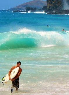 Sandy Beach surf and blowhole, Oahu