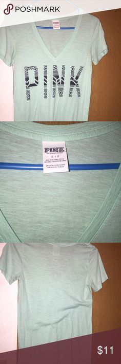 Pretty Seafoam Green/Blue VS Pink Top Used but still in good condition. Very soft and comfy, perfect for hot summer days PINK Victoria's Secret Tops Tees - Short Sleeve
