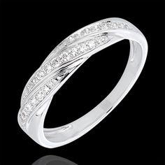 Bague tresse précieuse or blanc et diamants : bijoux Edenly 430