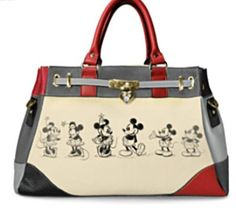 #Disney #MickeyMouse and #MinnieMouse Handbag - awesome color blocking and cute heart shaped charm!