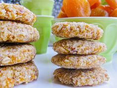 Raw Vegan Gluten Free No Bake Apricot Coconut Oatmeal Cookies - Sub in raw honey for agave which sometimes has GMO additives