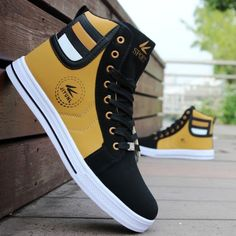 Mens Round Toe High Top Sneakers Casual Lace Up Skateboard Shoes Newest Style 3 Colors Source by wishapp. Men's High Top Sneakers, Sneakers Mode, Casual Sneakers, Sneakers Fashion, Casual Shoes, Fashion Shoes, Men Casual, Sneakers Style, Casual Suit