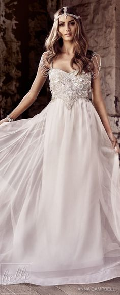 Wedding dress for beach ceremony luxury wedding dresses by anna campbell 2018 eternal heart collection Fancy Wedding Dresses, Luxury Wedding Dress, Gorgeous Wedding Dress, Designer Wedding Dresses, Beautiful Gowns, Boho Wedding, Wedding Gowns, Viking Wedding Dress, Peacock Wedding