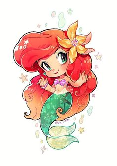 55 Ideas For Disney Art Projects For Kids Little Mermaids Cute Disney Drawings, Kawaii Drawings, Cute Drawings, Disney Princess Art, Disney Fan Art, Disney Princess Cartoons, Disney Characters, Mermaid Drawings, Mermaid Art