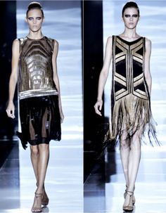 Gucci Spring / Summer 2012 ready-to-wear collection. Gucci brings back the roaring twenties with star-studded black and gold flapper dresses, crafted in layers of sequins and tiers of metal chain fringe.
