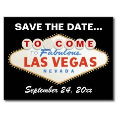 Las Vegas sign destination wedding Save the Date Post Card