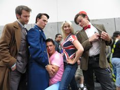 Doctor Who cosplayers with John Barrowman