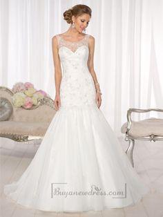 Mermaid Lace Applliques Illusion Bateau Neckline and Back Vintage Wedding Dresses
