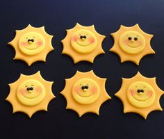 Style your desserts with these Adorable Sunny sunshine toppers!! And turn any cupcakes into designer cupcakes with handmade details! This listing