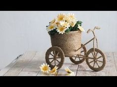 it's so easy to make this kind of jute bicycle using the waste material. I really enjoyed making this jute bicycle. Jute Crafts, Diy Home Crafts, Decor Crafts, Crafts To Make, Paper Crafts, Diy Rustic Decor, Diy Decoration, Coffee Bean Art, Bicycle Crafts