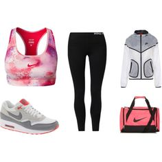 A fashion look from June 2014 featuring NIKE activewear pants, NIKE sports bras and NIKE. Browse and shop related looks.