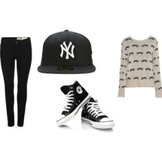 Black skinny jeans, black all star converse, SnapBack hat and moustache jumper- great outfit ( love it)