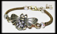 Honey Bee... Handmade Jewelry Bracelet Beaded Crystal Rhinestone Wirework Metal Bangle Cuff Antique Brass Bees Steampunk Adjustable