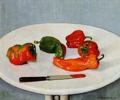 Felix Vallotton,Still Life with Red Peppers on a White Lacquered Table (1915)