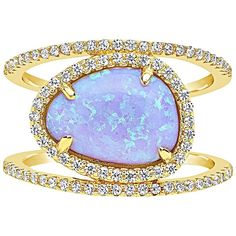 Sterling Forever Women's Created Opal Detailed Oval Ring - Size 10 ($65) ❤ liked on Polyvore featuring jewelry, rings, multi, 14k ring, 14 karat gold ring, oval opal ring, 14k jewelry and opal jewelry
