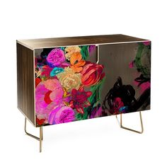 Buy Credenza with Floral Storm designed by Biljana Kroll. One of many amazing home décor accessories items available at Deny Designs. Graffiti Furniture, Funky Furniture, Refurbished Furniture, Art Furniture, Furniture Makeover, Furniture Design, Red Painted Furniture, Eclectic Furniture, Colorful Furniture