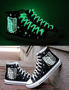 Be the coolest kid in the Survey Corps by owning a pair of shoes that give off a vibrant glow of green. The Wings of Freedom will light up the streets at night while the Titans are inactive and allow for a swift getaway street Glowing Survey Corps Shoes Anime Outfits, Cool Outfits, Silvester Outfit, Mode Kawaii, New Years Outfit, Anime Merchandise, Kawaii Clothes, Painted Shoes, Star Designs