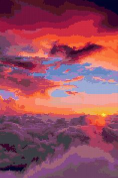 Sunset in the Clouds Cross stitch pattern PDF - EASY chart with one color per sheet AND traditional chart! Two charts in one! by HeritageCharts on Etsy