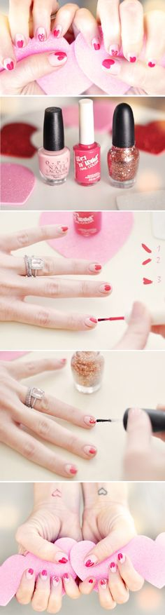 Pink Hearts Valentine's Day Manicure - 16 Heart-Screaming Nail Art Tutorials for Valentine's Day | GleamItUp