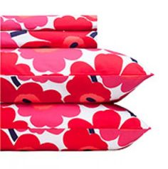 Unikko red queen sheet set