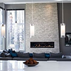 white tile floor to ceiling around fireplace - Google Search