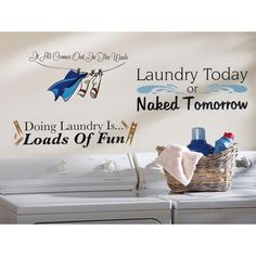 Set of 3 Funny Laundry Room Decals