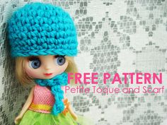 Free pattern: crocheted toque/hat and scarf set for Petite Blythe or other small-sized dolls.