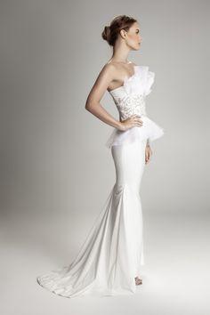 White organza embellished dress side view