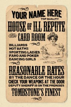 """YOUR NAME on an old timey """"house of ill repute"""" poster Personalized -custom gift - 12""""x18"""" novelty room decor"""