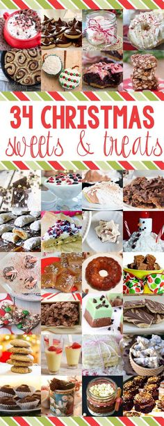 The best collection of 34 Christmas Sweets and Treats recipes! Great DIY food gifts and Santa Snack ideas! www.settingforfour.com
