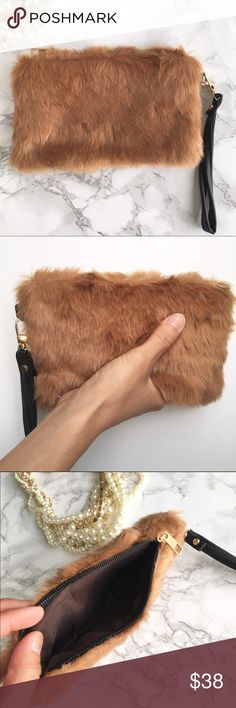 "Fur ball wristlet in nude Faux fur in nude. Lining interior. 8""X 5"" Kurates.co Bags Clutches & Wristlets"