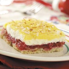 Cool Rhubarb Dessert Recipe from Taste of Home