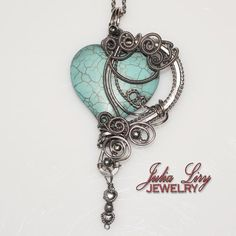 Hey, I found this really awesome Etsy listing at https://www.etsy.com/listing/265665329/heart-shaped-turquoise-pendant-wire