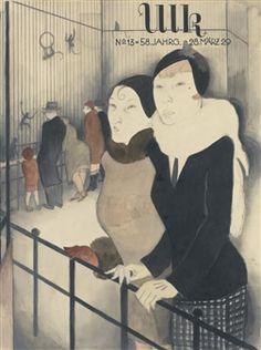 TEEGESPRÄCH IM AFFENKÄFIG (TEA PARTY IN THE MONKEY ENCLOSURE) By Jeanne Mammen ,Circa  1929