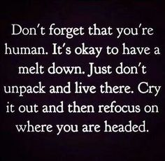 Don't forget that you're human.  It's okay to have a melt down.  Just don't unpack and live there.  Cry it out and then refocus on where you are headed.  - Quote -