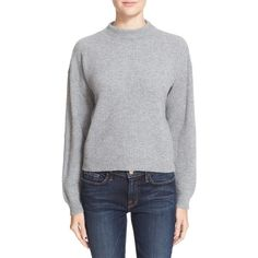 Women's Frame Rib Knit Crop Cashmere Sweater (440,495 KRW) ❤ liked on Polyvore featuring tops, sweaters, gris, ribbed knit crop top, ribbed knit sweater, drop shoulder tops, cut-out crop tops and textured sweater